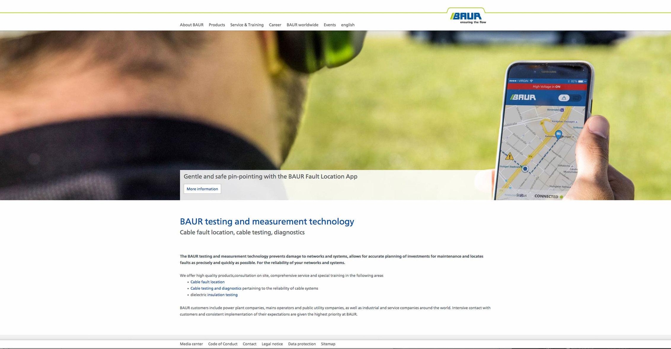 eboxx® Enterprise Websystem: BAUR Prüf- und Messtechnik